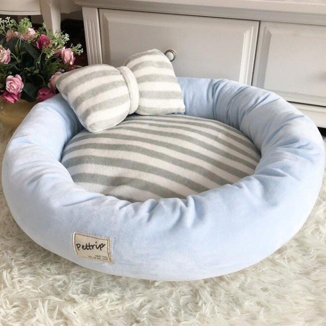 【送料無料】犬ベッド 洗える 冬用 小型犬 ペットベッド まくらつき メス 円形 かわいい 屋内 暖かい  猫 ベッド ピンク パープル 子犬 ベッド cactus0812 10