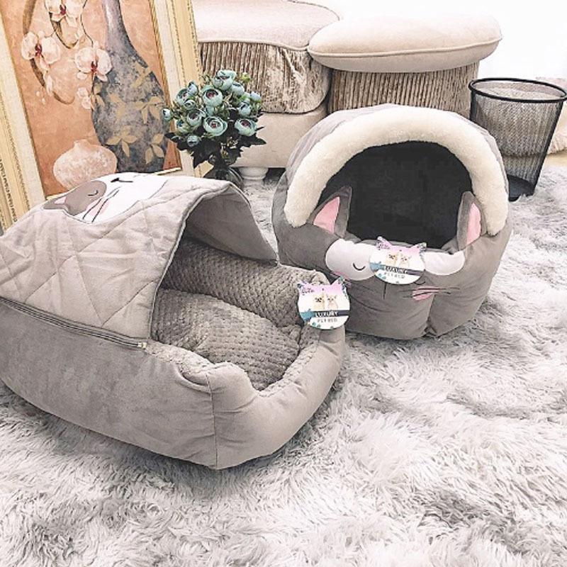 キャットハウス ドーム型 ペットベッド 猫ベッド 猫用ベッド 室内用 猫 ネコボックスベッド ペットハウス ペットソファ ネコ ペット用 キャットベッド|cactus0812