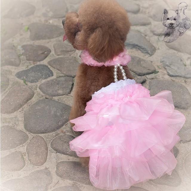 ペット コスプレ 犬用 ウエディングドレス ドッグコスチューム ドレス+ベール 小型犬〜中型犬 犬用衣装 かわいい ペット衣装|cactus0812|02