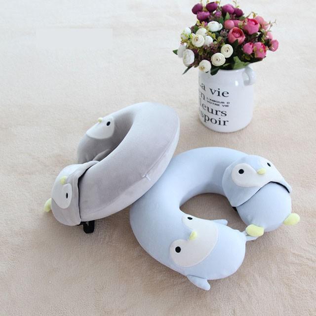 動物 旅行 枕 飛行機 U字 クッション 車 低反発 安眠 トラベルグッズ 快適 コンパクト 携帯 首枕 目隠し|cactus0812|10