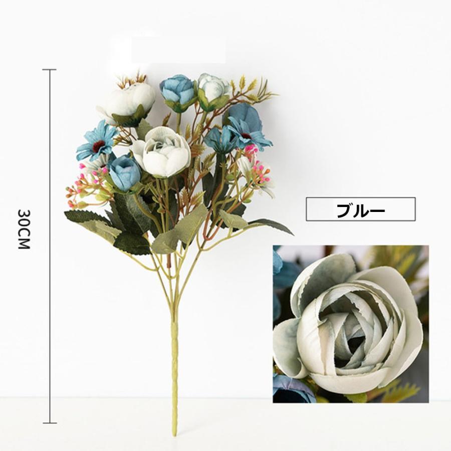 造花 アートフラワー 一束 花束 人工フラワー フェイクフラワー イミテーションフラワー フラワーアレンジメント 人造フラワー ブーケ 花飾り 装飾|cactus0812|04