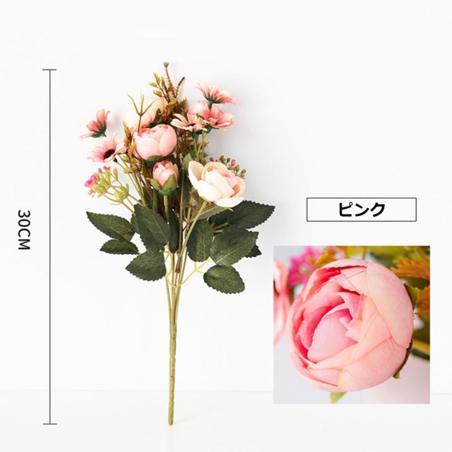 造花 アートフラワー 一束 花束 人工フラワー フェイクフラワー イミテーションフラワー フラワーアレンジメント 人造フラワー ブーケ 花飾り 装飾|cactus0812|05
