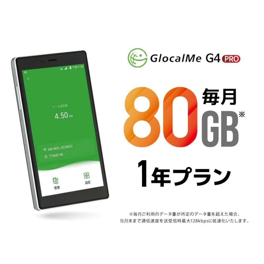 GlocalMe G4 Pro クラウドWIFIルーター 月/80GB 1年プリペイド通信サービスセット