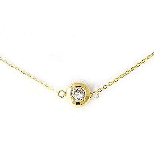 素敵な One&Only Jewellery 鑑別書付 0.1ct K18YG 18金 イエローゴールド 天然 ダイヤモンド ミラーカットネックレス, 時計屋さんロジスティックス a0655749