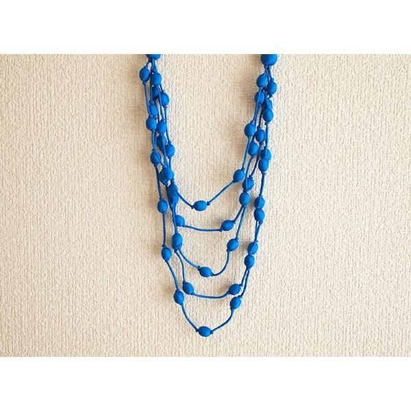 ハンドメイドのシルクアクセサリー ビーズネックレス5連 単色 青 cambodia