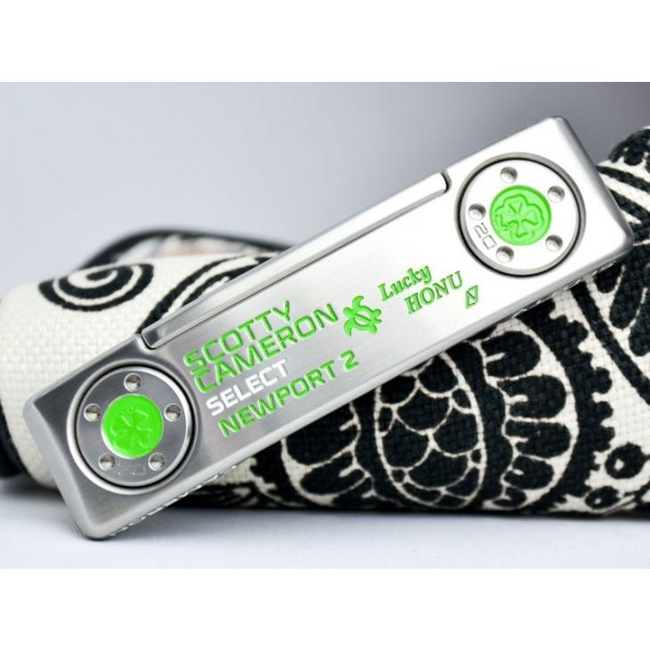スコッティキャメロン カスタムパター ニューポート2 (Lucky HONU) Custom with クローバー 20g ウェイト グリーン & 白い 34インチ