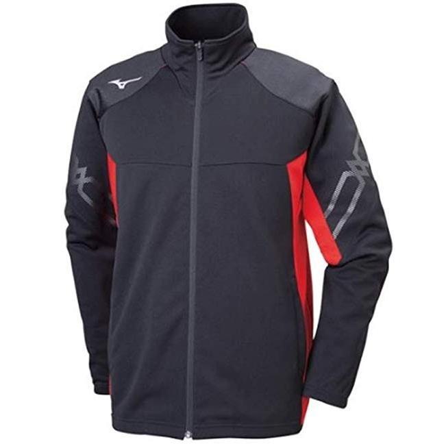 [Mizuno] トレーニングウェア ウォームアップジャケット スタンダード ドライ 32MC9110 ブラック×チャイニーズレッド XLサイズ