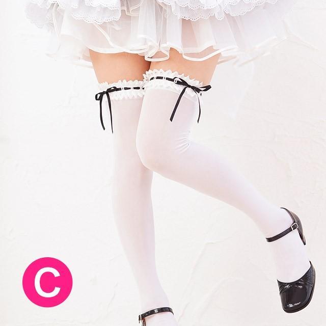 ホワイトレース中通しリボン付オーバーニーソックス【日本製のオリジナルオーバーニーソックス・コスプレ衣装やメイド服にもぴったり合います】(白)|candyfruit-maid