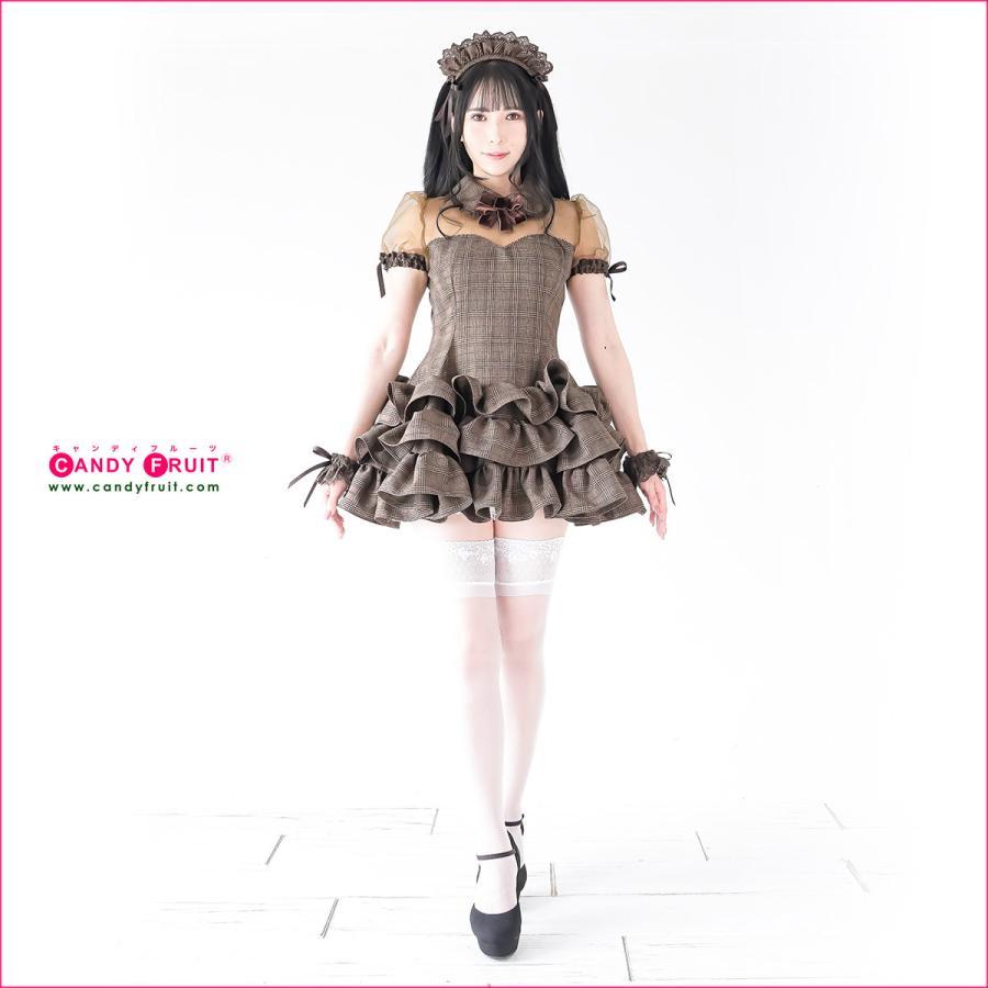 JILL×キャンディフルーツコラボ♪★グレースメイド服(アールグレイ)レディース 半袖 ブラウン 茶 Mサイズ|candyfruit-maid|07