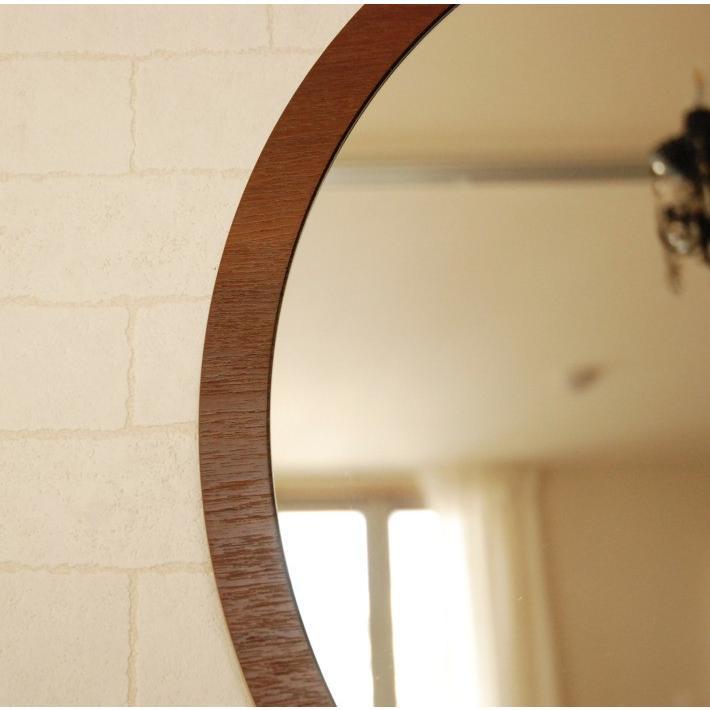 鏡 ウォールミラー 壁掛け 丸型 丸 ラウンド 円 CRM-0001TK 52cm ブラウン おしゃれ アンティーク  国産 洗面所 洗面台 軽い 北欧 チーク フラット  シンプル|canffy|05