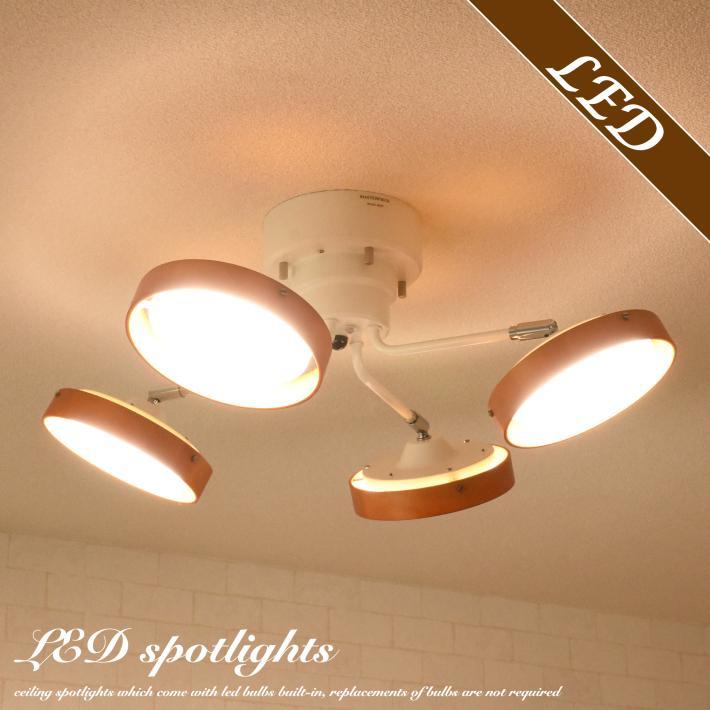 LED シーリングライト スポットライト おしゃれ 6畳 8畳  リモコン 明るい 調光 調色 北欧 クロスタイプ 木目 ナチュラル ホワイト 白 4灯  照明 天井 リビング|canffy