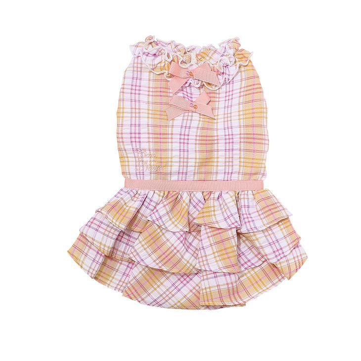 犬 服 犬服  春夏 チェック フリル ワンピース  犬の服 新作 きゃんナナ ドッグウェア ブランド|cannanaonline|05