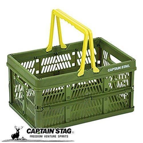キャプテンスタッグ 折りたたみ コンテナ フォールディング ハンディ コンテナ Lサイズ グリーン captainstag