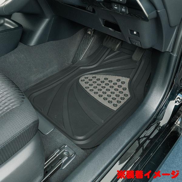 フロアマット フロント 前席 用 軽自動車 コンパクトカー 普通車 ミニバン等 汎用 1枚 デザインラバー 3Dカーマット 約48×65cm ブラック シルバー|car-pro|02