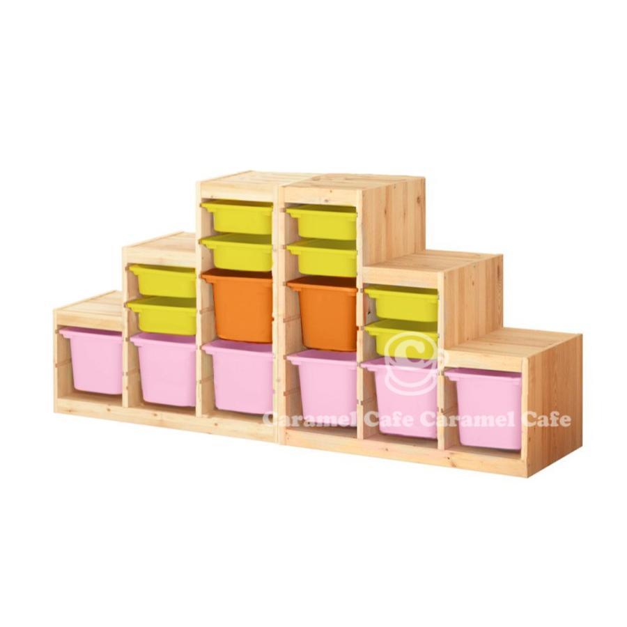 今だけ!IKEAエコバッグプレゼント 送料無料 IKEA TROFAST トロファスト 収納コンビネーション パイン材 イエロー オレンジ オレンジ ピンク 188x44x91cm PK2-Y8O2P6