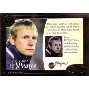 サッカーカード【スチュアート ピアース】Stuart Pearce 2006 Futera 1of1 Film Autograph 1枚限定!