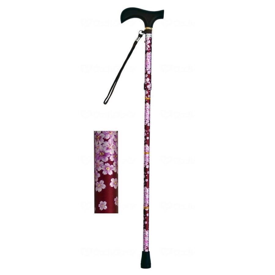 夢ライフステッキ 柄杖折りたたみ伸縮型 桜ワイン careshop-lincle