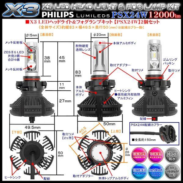 スバルXV/GP7・ハイブリッド/GPE/PSX24W X3 PHILIPS 12000ルーメンLEDフォグランプキット50W/6500K車検対応2個セット/1年保証ブラガ cargoodsya-shopping 04