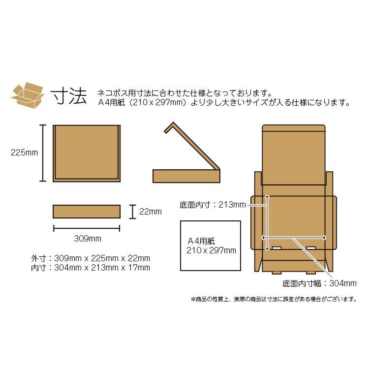 ネコポス対応 段ボール ダンボール A4 100枚セット 梱包用ダンボール 箱 ホワイト 送料無料 外寸309x225x22mm 厚さ2mm 日本製 001-008|carton-box|03
