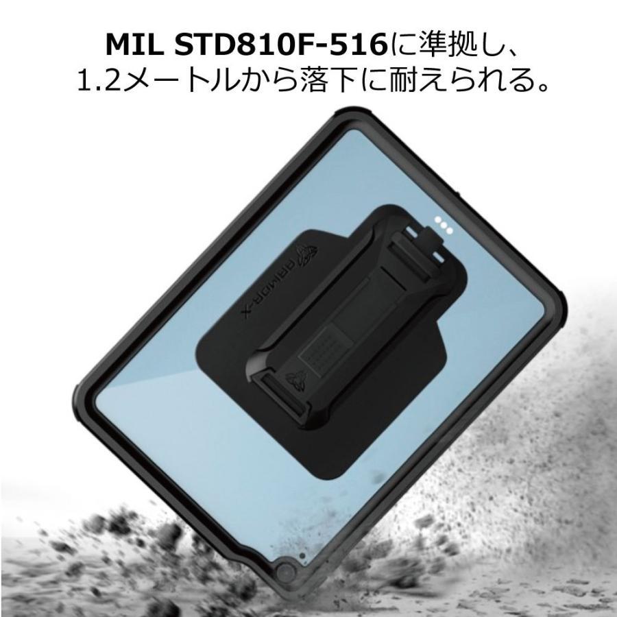 ARMOR-X iPad air4 ケース 全面保護 防水 衝撃 IP68 ストラップ付き Waterproof Case Hand Strap [ Black ] caseplay 03