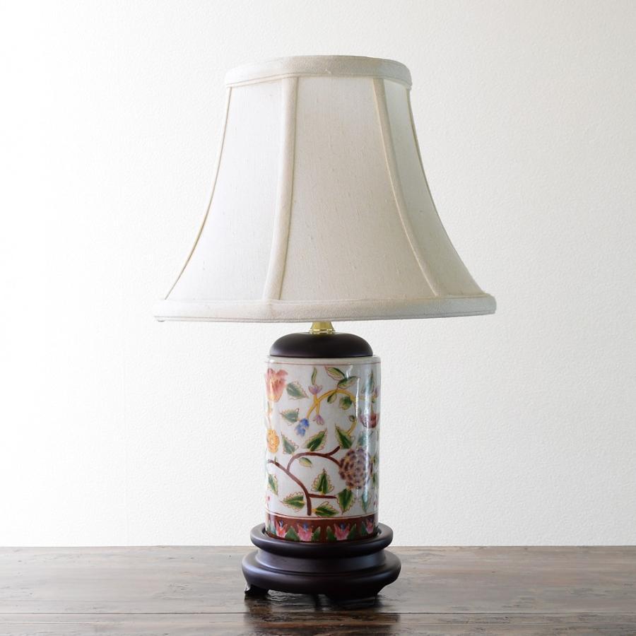 陶器ランプ アウトレット 花唐草 テーブルランプ /size:W24xD24xH37cm/ 本体:陶器 ※氷裂仕上げ アジアンリゾート 間接照明 癒し 卓上ランプ 卓上ランプ アウトレット