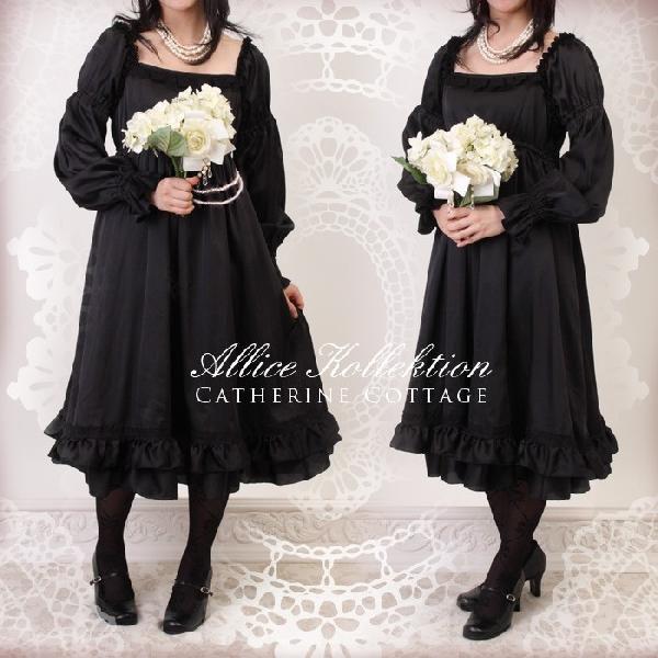 レディースワンピース クラシカルエンパイアスタイル*サテンワンピース ドレス JSK  TAK|catherine