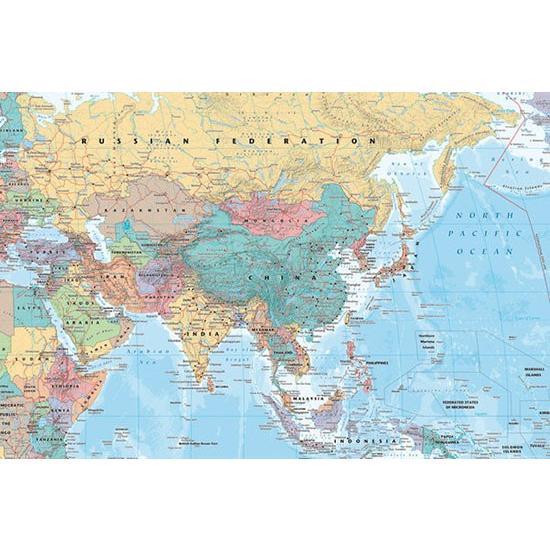 アジア地図 ポスター catstyle