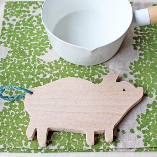 木製 鍋敷き ぶたさんなべしき 日本製 ポットスタンド かわいい 天然木 ブナ cayest 04
