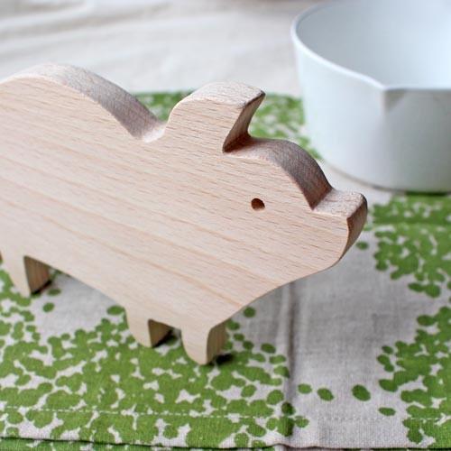 木製 鍋敷き ぶたさんなべしき 日本製 ポットスタンド かわいい 天然木 ブナ cayest 05