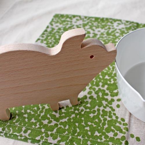 木製 鍋敷き ぶたさんなべしき 日本製 ポットスタンド かわいい 天然木 ブナ cayest 06
