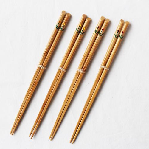 竹箸 チューリップ 21.5cm 大人用 赤/黄 かわいい お箸 国産孟宗竹 日本製 cayest