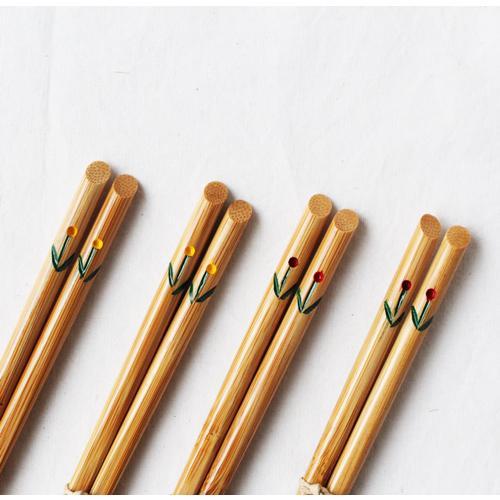 竹箸 チューリップ 21.5cm 大人用 赤/黄 かわいい お箸 国産孟宗竹 日本製 cayest 02