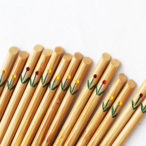 竹箸 チューリップ 21.5cm 大人用 赤/黄 かわいい お箸 国産孟宗竹 日本製 cayest 03