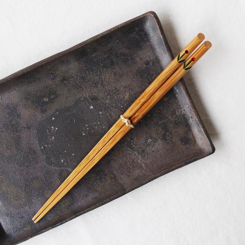 竹箸 チューリップ 21.5cm 大人用 赤/黄 かわいい お箸 国産孟宗竹 日本製 cayest 07