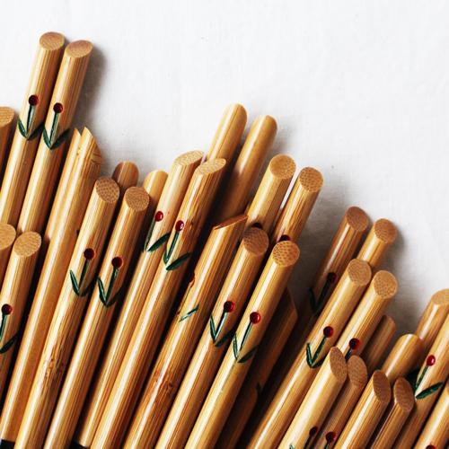 竹箸 チューリップ 21.5cm 大人用 赤/黄 かわいい お箸 国産孟宗竹 日本製 cayest 08