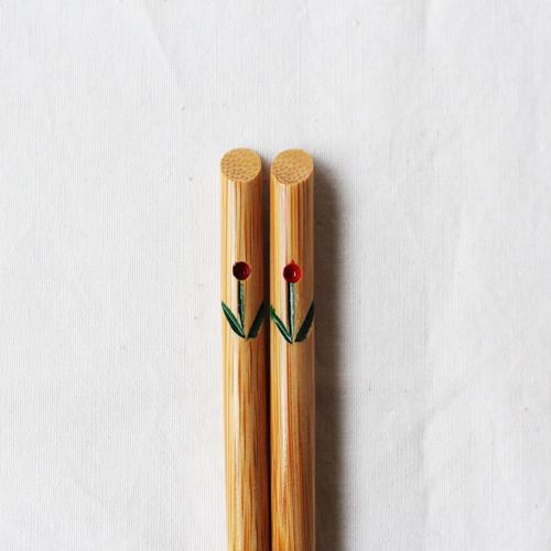 竹箸 チューリップ 21.5cm 大人用 赤/黄 かわいい お箸 国産孟宗竹 日本製 cayest 09