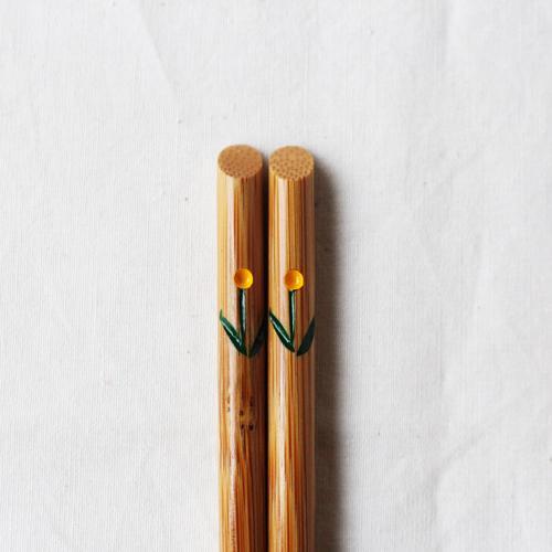 竹箸 チューリップ 21.5cm 大人用 赤/黄 かわいい お箸 国産孟宗竹 日本製 cayest 10