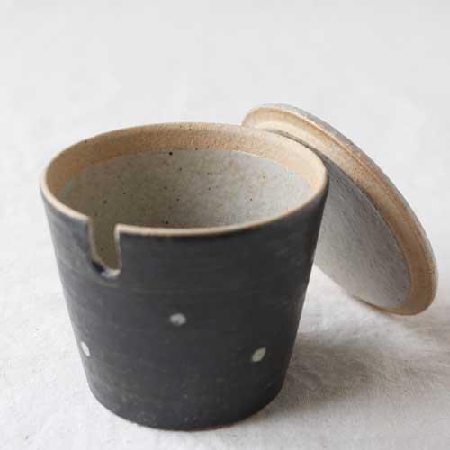シュガーポット ドット 黒 陶器 砂糖入れ 水玉 かわいい 信楽焼 cayest 02