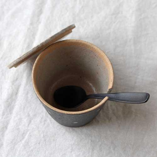 シュガーポット ドット 黒 陶器 砂糖入れ 水玉 かわいい 信楽焼 cayest 05