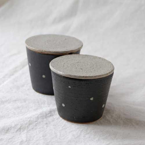 シュガーポット ドット 黒 陶器 砂糖入れ 水玉 かわいい 信楽焼 cayest 06