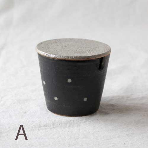 シュガーポット ドット 黒 陶器 砂糖入れ 水玉 かわいい 信楽焼 cayest 08