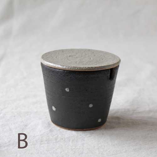 シュガーポット ドット 黒 陶器 砂糖入れ 水玉 かわいい 信楽焼 cayest 09