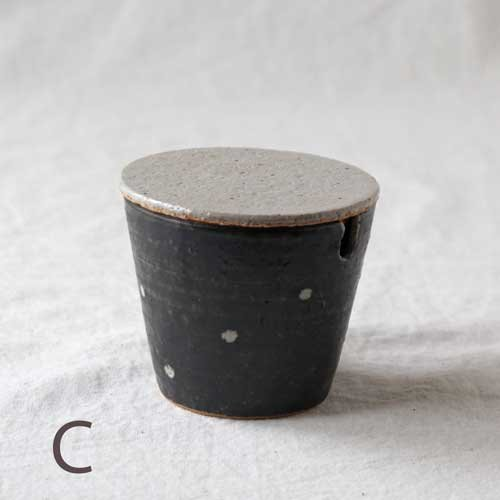 シュガーポット ドット 黒 陶器 砂糖入れ 水玉 かわいい 信楽焼 cayest 10