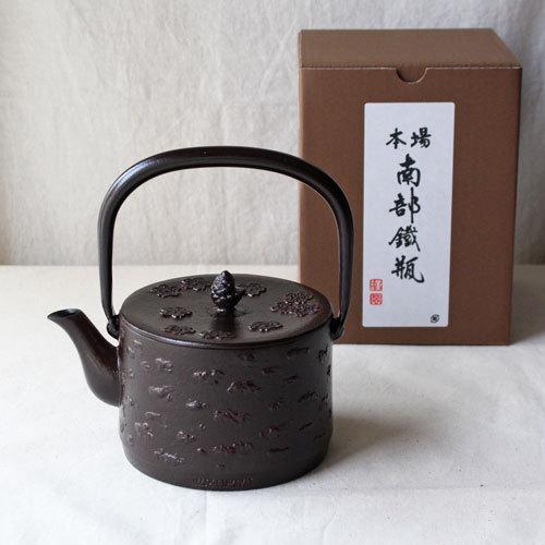 南部鉄器 鉄瓶 桜皮寸筒 桜 直火IH可1L 赤茶色 日本製 おしゃれ|cayest|04