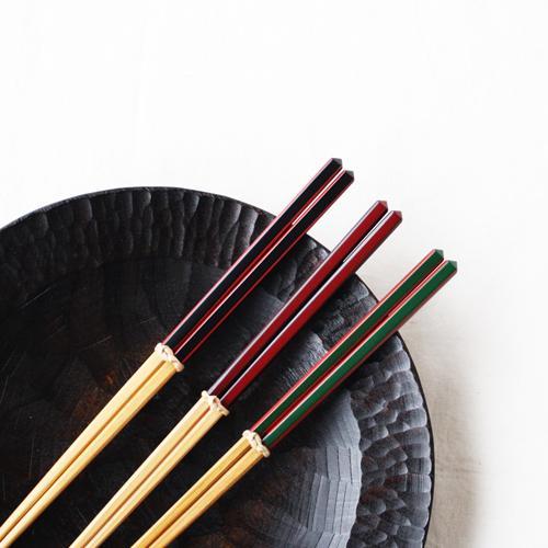 竹箸 ダイヤカット 赤/緑/黒 22.5cm 細め お箸 国産孟宗竹|cayest|02