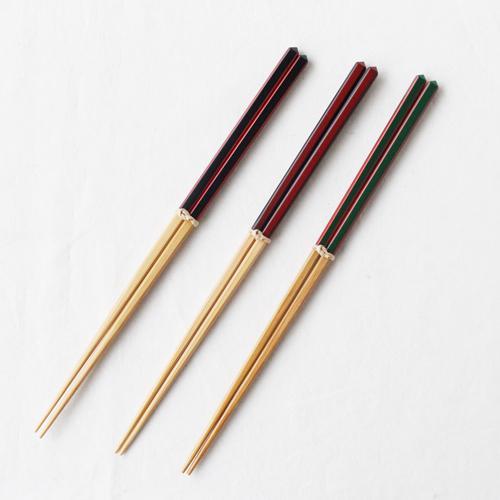 竹箸 ダイヤカット 赤/緑/黒 22.5cm 細め お箸 国産孟宗竹|cayest|03