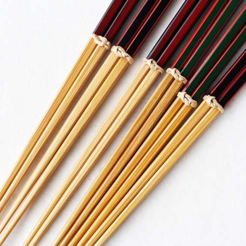 竹箸 ダイヤカット 赤/緑/黒 22.5cm 細め お箸 国産孟宗竹|cayest|04