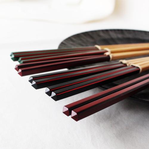 竹箸 ダイヤカット 赤/緑/黒 22.5cm 細め お箸 国産孟宗竹|cayest|07