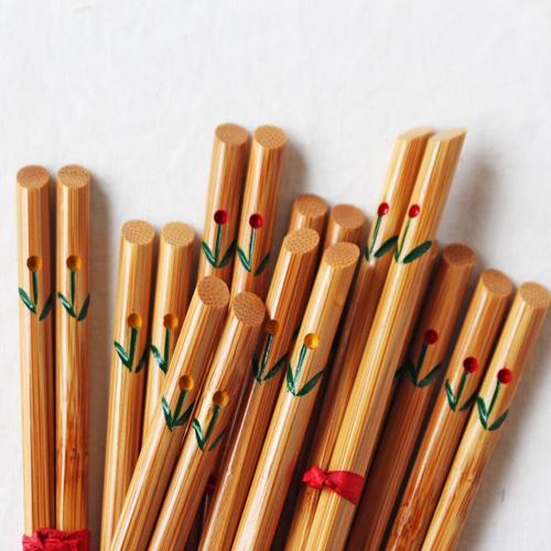 竹箸 チューリップ 16.5cm 子供用 赤/黄 かわいい お箸 国産孟宗竹 日本製 cayest 02
