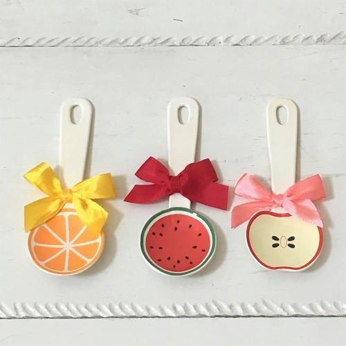 琺瑯 フルーツ柄 ミニスプーン 10cm スイカ/オレンジ/リンゴ 子供用 デザート用 ホーロー 日本製|cayest